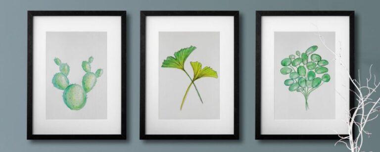 Aquarelle mit Ginkgo, Pilea und Kaktus